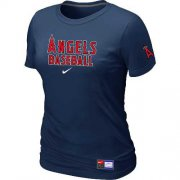 Wholesale Cheap Women's Los Angeles Angels Nike Short Sleeve Practice MLB T-Shirt Midnight Blue