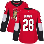 Wholesale Cheap Adidas Senators #28 Connor Brown Red Home Authentic Women's Stitched NHL Jersey