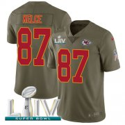 Wholesale Cheap Nike Chiefs #87 Travis Kelce Olive Super Bowl LIV 2020 Men's Stitched NFL Limited 2017 Salute To Service Jersey