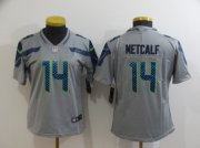Wholesale Cheap Women's Seattle Seahawks #14 D.K. Metcalf Grey 2017 Vapor Untouchable Stitched NFL Nike Limited Jersey
