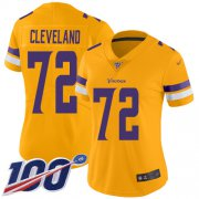 Wholesale Cheap Nike Vikings #72 Ezra Cleveland Gold Women's Stitched NFL Limited Inverted Legend 100th Season Jersey
