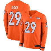 Wholesale Cheap Nike Broncos #29 Bradley Roby Orange Team Color Men's Stitched NFL Limited Therma Long Sleeve Jersey