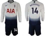 Wholesale Cheap Tottenham Hotspur #14 Nkoudou Home Long Sleeves Soccer Club Jersey