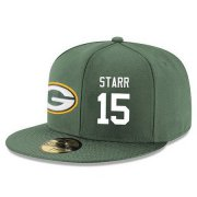 Wholesale Cheap Green Bay Packers #15 Bart Starr Snapback Cap NFL Player Green with White Number Stitched Hat