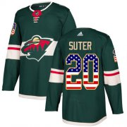 Wholesale Cheap Adidas Wild #20 Ryan Suter Green Home Authentic USA Flag Stitched Youth NHL Jersey