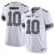 Wholesale Cheap Ohio State Buckeyes 10 Joe Burrow White Shadow College Football Jersey