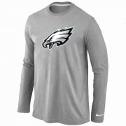 Wholesale Cheap Nike Philadelphia Eagles Logo Long Sleeve T-Shirt Grey