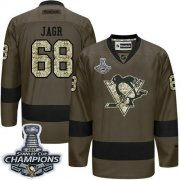 Wholesale Cheap Penguins #68 Jaromir Jagr Green Salute to Service 2017 Stanley Cup Finals Champions Stitched NHL Jersey