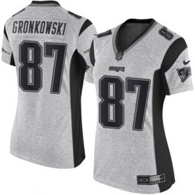 Wholesale Cheap Nike Patriots #87 Rob Gronkowski Gray Women\'s Stitched NFL Limited Gridiron Gray II Jersey