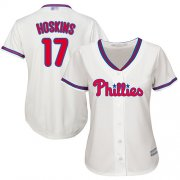 Wholesale Cheap Phillies #17 Rhys Hoskins Cream Alternate Women's Stitched MLB Jersey