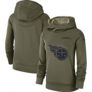 Wholesale Cheap Women's Tennessee Titans Nike Olive Salute to Service Sideline Therma Performance Pullover Hoodie