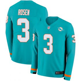 Wholesale Cheap Nike Dolphins #3 Josh Rosen Aqua Green Team Color Men\'s Stitched NFL Limited Therma Long Sleeve Jersey