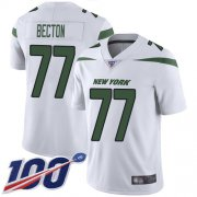 Wholesale Cheap Nike Jets #77 Mekhi Becton White Men's Stitched NFL 100th Season Vapor Untouchable Limited Jersey