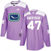 Wholesale Cheap Adidas Canucks #47 Sven Baertschi Purple Authentic Fights Cancer Youth Stitched NHL Jersey