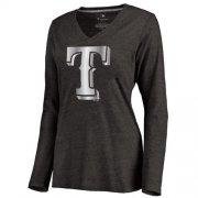 Wholesale Cheap Women's Texas Rangers Platinum Collection Long Sleeve V-Neck Tri-Blend T-Shirt Black