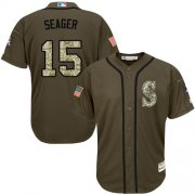 Wholesale Mariners #15 Kyle Seager Green Salute to Service Stitched Youth Baseball Jersey