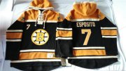 Wholesale Cheap Bruins #7 Phil Esposito Black Sawyer Hooded Sweatshirt Stitched NHL Jersey