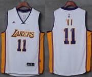 Wholesale Cheap Lakers #11 Yi Jianlian White Stitched NBA Jersey