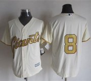 Wholesale Cheap Giants #8 Hunter Pence Cream(Gold No.) New Cool Base Stitched MLB Jersey