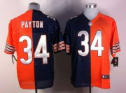 Wholesale Cheap Nike Bears #34 Walter Payton Navy Blue/Orange Men's Stitched NFL Elite Split Jersey