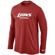Wholesale Cheap Nike Detroit Lions Authentic Font Long Sleeve T-Shirt Red