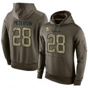 Wholesale Cheap NFL Men's Nike Minnesota Vikings #28 Adrian Peterson Stitched Green Olive Salute To Service KO Performance Hoodie