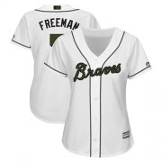 Wholesale Cheap Braves #5 Freddie Freeman White 2018 Memorial Day Cool Base Women's Stitched MLB Jersey