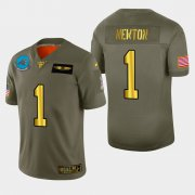 Wholesale Cheap Carolina Panthers #1 Cam Newton Men's Nike Olive Gold 2019 Salute to Service Limited NFL 100 Jersey