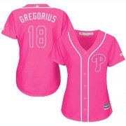 Wholesale Cheap Phillies #18 Didi Gregorius Pink Fashion Women's Stitched MLB Jersey