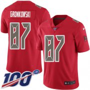 Wholesale Cheap Nike Buccaneers #87 Rob Gronkowski Red Men's Stitched NFL Limited Rush 100th Season Jersey