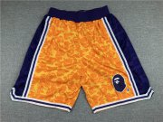 Wholesale Cheap Men's Los Angeles Lakers Mitchell & Ness x BAPE Yellow 1996-97 Hardwood Classics Shorts
