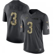Wholesale Cheap Nike Seahawks #3 Russell Wilson Black Men's Stitched NFL Limited 2016 Salute to Service Jersey