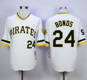 Wholesale Cheap Mitchell And Ness Pirates #24 Barry Bonds White Throwback Stitched MLB Jersey