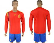 Wholesale Cheap Spain Blank Red Home Long Sleeves Soccer Country Jersey