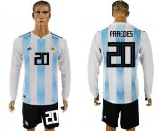 Wholesale Cheap Argentina #20 Paredes Home Long Sleeves Soccer Country Jersey