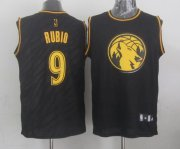 Wholesale Cheap Minnesota Timberwolves #9 Ricky Rubio Revolution 30 Swingman 2014 Black With Gold Jersey