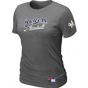 Wholesale Cheap Women's Milwaukee Brewers Nike Short Sleeve Practice MLB T-Shirt Crow Grey