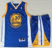 Wholesale Cheap Golden State Warriors 30 Stephen Curry Blue Revolution 30 Swingman Jerseys Shorts NBA Suits