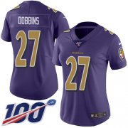 Wholesale Cheap Nike Ravens #27 J.K. Dobbins Purple Women's Stitched NFL Limited Rush 100th Season Jersey