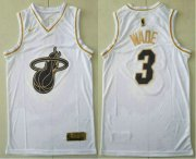 Wholesale Cheap Men's Miami Heat #3 Dwyane Wade White Golden Nike Swingman Stitched NBA Jersey