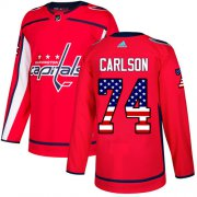 Wholesale Cheap Adidas Capitals #74 John Carlson Red Home Authentic USA Flag Stitched Youth NHL Jersey