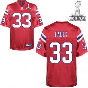 Wholesale Cheap Patriots #33 Kevin Faulk Red Super Bowl XLVI Embroidered NFL Jersey