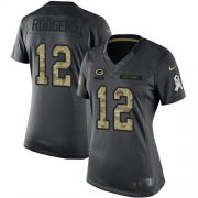 Wholesale Cheap Nike Packers #12 Aaron Rodgers Black Women's Stitched NFL Limited 2016 Salute to Service Jersey