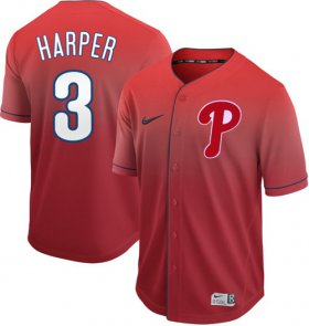 Wholesale Cheap Nike Phillies #3 Bryce Harper Red Fade Authentic Stitched MLB Jersey