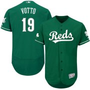 Wholesale Cheap Cincinnati Reds #19 Joey Votto Majestic St. Patrick's Day Flex Base Authentic Collection Celtic Player Jersey Green
