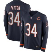 Wholesale Cheap Men's Bears #34 Walter Payton Navy Blue Team Color Men's Stitched NFL Limited Therma Long Sleeve Jersey