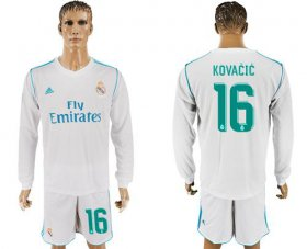 Wholesale Cheap Real Madrid #16 Kovacic White Home Long Sleeves Soccer Club Jersey