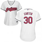 Wholesale Cheap Indians #30 Joe Carter White Home Women's Stitched MLB Jersey