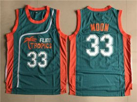 Wholesale Cheap Flint Tropics 33 Jackie Moon Teal Semi Pro Movie Stitched Basketball Jersey