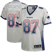 Wholesale Cheap Nike Patriots #87 Rob Gronkowski Grey Women's Stitched NFL Elite Drift Fashion Jersey